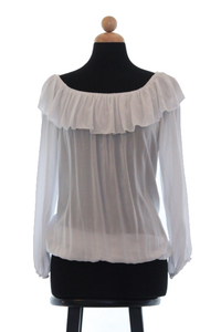 Soft White off the Shoulder Ruffle Top