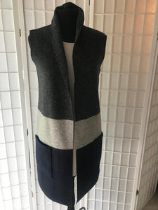 Tri Color Wool Long Vest