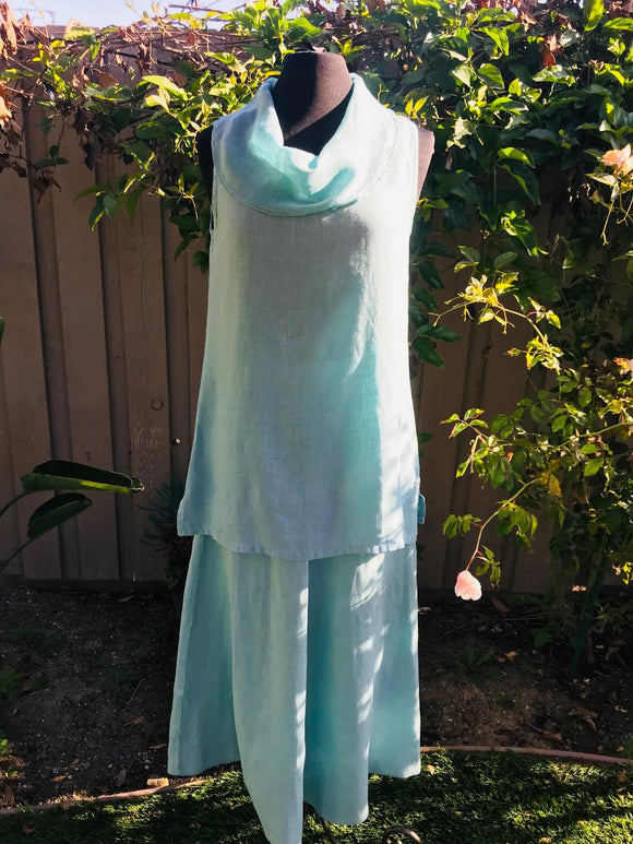 Aqua Linen Cowl Neck Top in Breeze