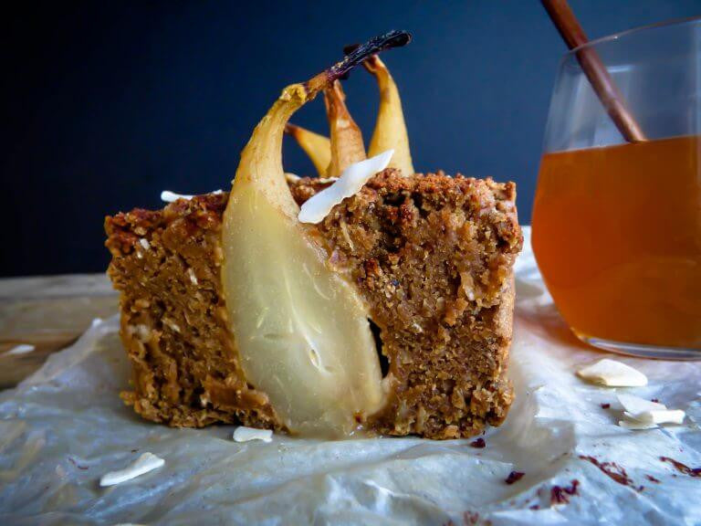 Chai Spiced Poached Pear & Coconut Loaf