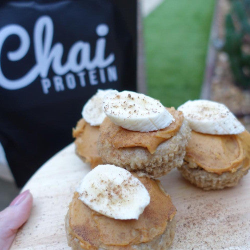 Chai Protein Muffins with Peanut Butter & Banana