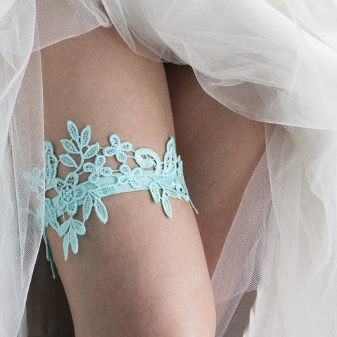 85daef51b Aqua Lace Garter Lace All the Way Around On Thigh Under White Wedding Dress