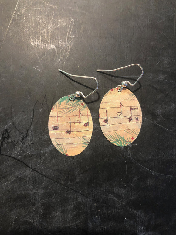 Music Notes Medium Oval Earring