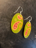 Green and Pink Paisley Ovals Earring
