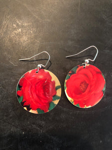 Circle Single Red Roses Earring