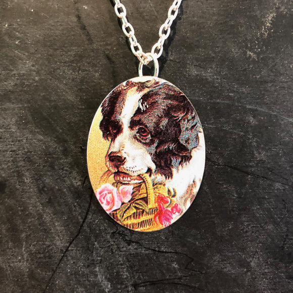 St. Bernard with Basket of Flowers Tin Necklace