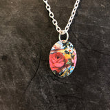 Red Rose and White Daisy Tin Necklace