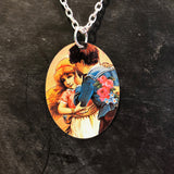Couple with Flowers Tin Necklace