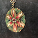 Green, Pink, Gold Large Circle Flower Tin Necklace