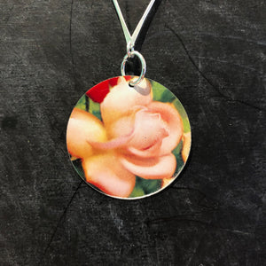 Pink Rose Circle Silver Necklace  Necklace