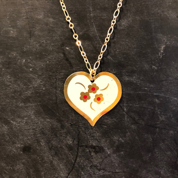 White, Gold, Red Floral Heart Holiday Necklace