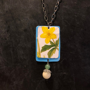 Layered Blue and Yellow Floral Tin Necklace