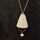 Gold and White Bell Domed Tin Necklace
