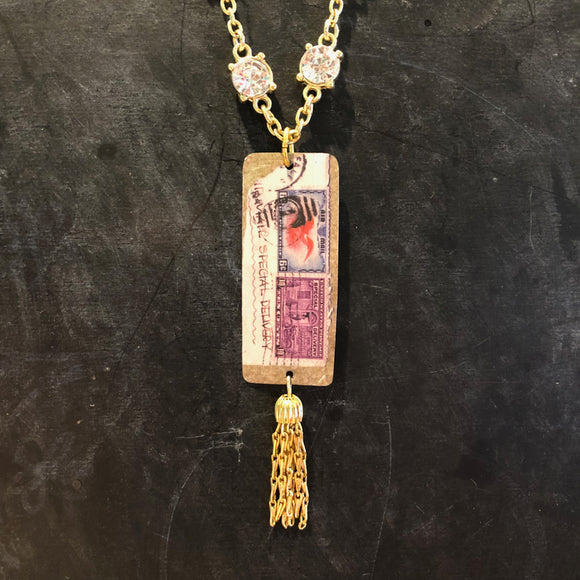Rhinestone Stamp Tin Necklace with Gold Tassel