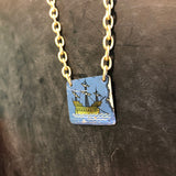 Blue Sail Boat Tin Necklace