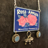 Apple Rose Tin Necklace with Vintage Beads
