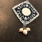 Square Mandala Tin Necklace with Freshwater Pearls
