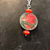 Framed Red Floral Tin Necklace