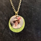 Layered Victorian Woman Tin Necklace