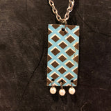 Black and Turqouise Pickett Fence Tin Necklace