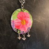 Pink Flower Tin Necklace with Beads