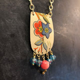 Orange and Blue Floral Tin Necklace with Beads
