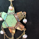Gold Starburst Tin Necklace with Freshwater Pearls