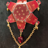 Red and Gold Starburst Tin Necklace with Beads