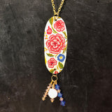 Pink and Blue Floral Tin Necklace