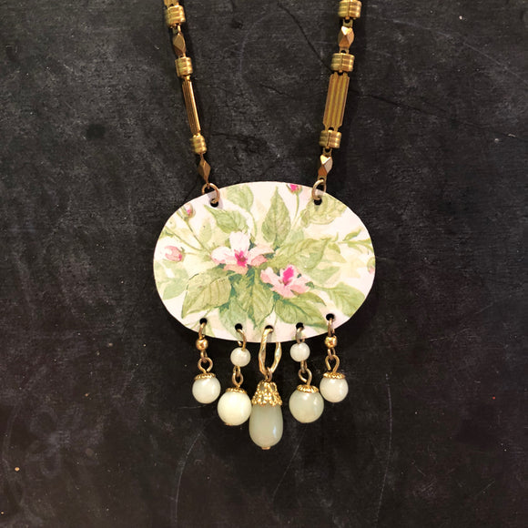 Green and Pink Floral Tin Necklace with Vintage Brass and Beads