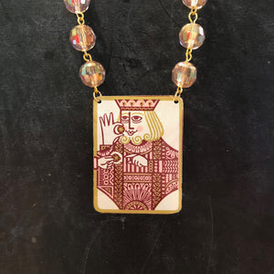 Square King Tin Necklace with Pink Beads