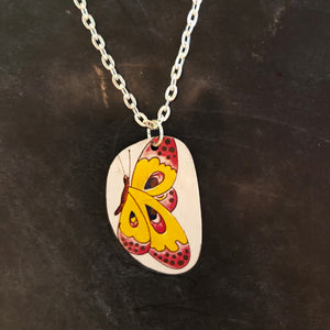 Yellow Butterfly Tin Necklace