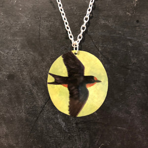 Robin in Flight Tin Necklace
