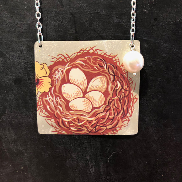 Nest with Eggs Tin Necklace