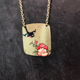 Rectangle Floral with Black Bird Tin Necklace