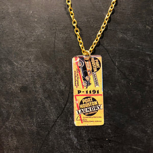 Port Houston Laundry Tin Necklace