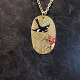 Oval Floral with Black Bird Tin Necklace