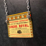 Circus Royal Flyer Tin Necklace with Rhinestone Beads