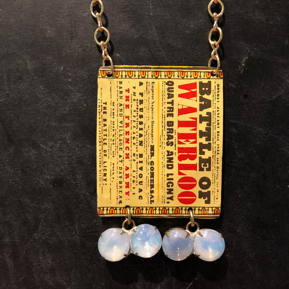 Battle of Waterloo Tin Necklace with Vintage Beads