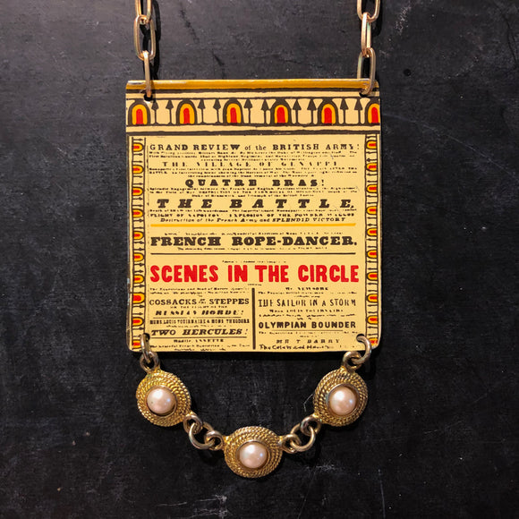 French Rope Dancer Circus Flyer Tin Necklace with Beads