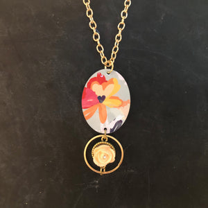 Turquoise Floral Tin Necklace with Peach Resin Rose