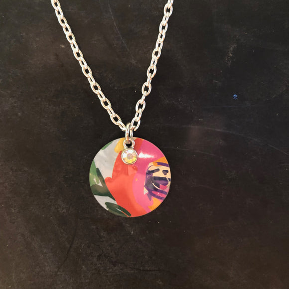 Turquoise and Pink Floral Tin Necklace