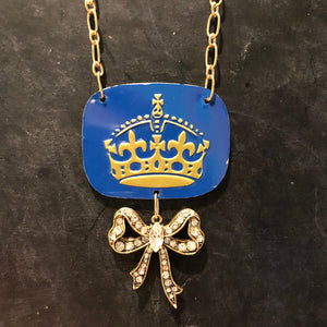 Blue Crown Tin Necklace with Gold Rhinestone Bow