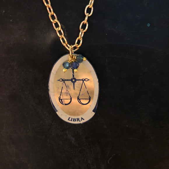 Libra Tin Necklace with Bead