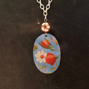 Blue Floral Tin Necklace with Cloisonné Bead