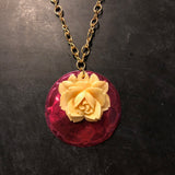 Burgundy with Tin Necklace Lucite Flower
