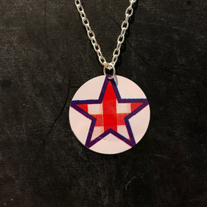 Checkered Stars Circle Tin Necklace