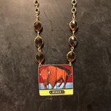 Bison Animal Cracker Tin Necklace