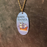 North America Tall Ship Tin Necklace