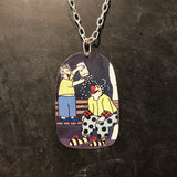 Popcorn Clown Tin Necklace